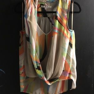 Trina Turk high/low watercolor blouse size M